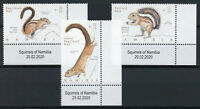 Namibia Wild Animals Stamps 2020 MNH Squirrels Tree Squirrel 3v Set + Selvedge A