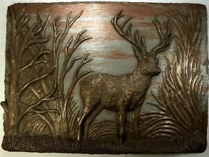 Cold Cast Bronze & Metal Deer Stag Signed Wall Art Sculpture Plaque Relief