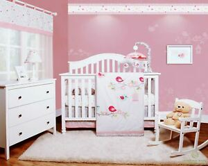 6-Piece Happy Enchanted Birds Baby Girl Nursery Crib Bedding Sets By OptimaBaby