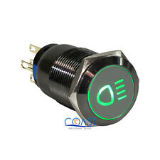 Durable 19mm Car Push Gray Latching Button Green LED Driving Light Switch