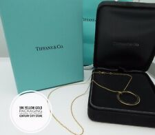 "Tiffany & Co. Genuine 1"" Circle Pendant Necklace 16"" 18K yellow Gold Packaging"