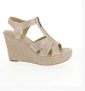 Women MK Michael Kors Berkley Wedge Sandals Metallic Canvas Pale Gold