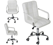 White Modern Office Leather Chair Hydraulic Swivel Executive Computer Desk Task