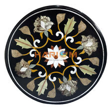 """24"""" Marble Coffee Side Table Top Multi Stone Marquetry Floral Inlay Decor B141"""