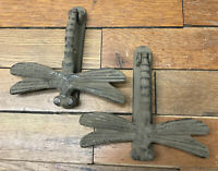 2 Cast Iron Antique Style Rustic Dragonfly Garden Pond Door Knocker Brown