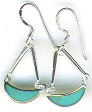 "925 Sterling Silver Turquoise Drop Dangle Earrings on Hooks Length 1.3/8"" 35mm"