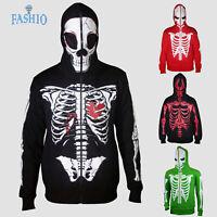 Mens Halloween Costume Sweatshirt Full Face Mask Skeleton Skull Hoodie