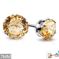Edelstahl Ohrringe 7mm Ohrstecker Zirkonia Stainless steel earrings e-xry422