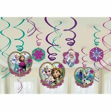 Disney Frozen Hanging Swirl Decorations Anna Elsa Birthday Party Supplies ~ 12ct