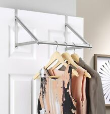 Over The Door Closet Rod Garment Rack Dry Clothes Organizer Storage Hanging Bar