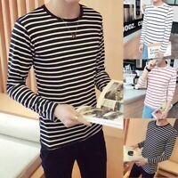 Men's Round Neck Black White Stripe Long Sleeve Slim Fit T-shirt Blouse Tee Tops