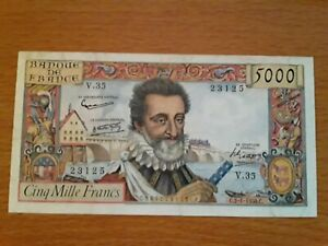 "Billet 5000 francs France 1958 ""Henri IV"" TTB+"