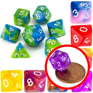 7 Dice Poly Set - MINI Dice (Select Colour) - Tiny Small D20,D12,D10 RPG DND