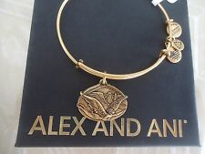 Alex And Ani GUARDIAN OF FREEDOM Russian Gold Charm Bangle New Tag Card & Box
