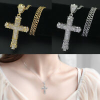 Fashion Glitter Men's Silver/Gold Plated Cross Pendant Necklace Jewelry Unisex