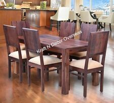 KraftNDecor Contemporary Wooden Dining Table with Six Chair Set in Brown Colour