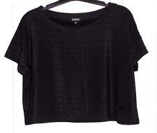 Joli cropped top noir lurex argent DKNY T 16 ans TBE