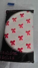 Direct From Europe  Fashion Tights 1 Pair   Cream with Red Bows Size S/ M