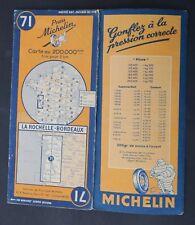 Carte MICHELIN old map n°71 LA ROCHELLE BORDEAUX 1948 Guide Bibendum pneu tyre