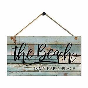 """Vintage Beach Decor Plaque with Coastal Themed Wall Decor Beach Signs 11.5""""x6"""""""