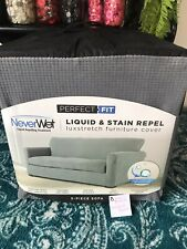 Perfect Fit NeverWet 3-Piece Sofa Cover Liquid and Stain Repel Gray