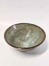Vintage Handmade Hand Thrown Artisan Pottery Bowl Jade Rustic Earth Tones Signed