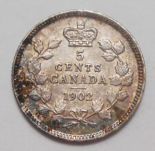 1902 Five Cents Silver AU * HIGH Grade Colorfully TONED 1st Edward VII Canada 5¢