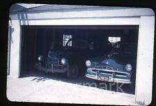 1950s red border Kodachrome photo slide  Cars in garage   Dodge automobile