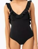 NWT Tory Burch Swimwear Black Solid Ruffle Plunge One Piece Swimsuit Size M