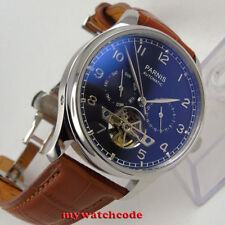 43mm parnis black dial date week deployment clasp automatic movement mens watch