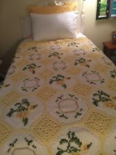 Handmade Crochet Blanket Afghan Throw 73 x 50 Ivory Yellow Roses Flowers
