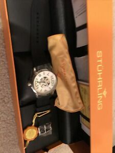 STUHRLING Original Automatic Skeleton CALST-90050 Krysterna Watch 20 Jewel NEW
