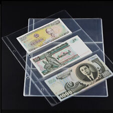 10x Note Banknotes Currency 3-Pocket Holder Page Album Paper Money Sleeve Fine