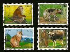 EXOTIC WILD ANIMALS ON NEPAL STAMPS MONKEY MACAQUE HYENA FELIS LYNX CAT GAUR