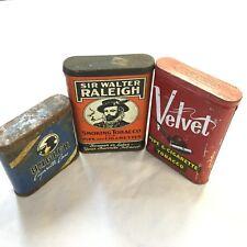 3 Vintage Cigarette Tins Velvet Bugler Sir Walter Raleigh Great Collectibles