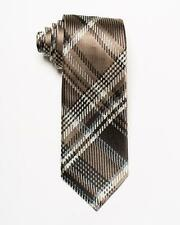 """Tom Ford NWT $260 Brown White Gray Large Plaid Print 100% Silk Tie 3.4"""" Italy"""