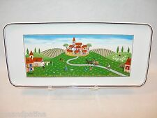 "VILLEROY AND BOCH 13 1/2"" VILLAGE SANDWICH TRAY WHITE MULTI COLORS FOLKSY QUAINT"