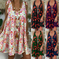 5c4cd8f547c7 Womens Ladies Loose Floral Sleeveless Bandage Plus Size Mini Dress Summer  Dress