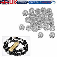 100PCS Clear Rhinestone Crystal Diamante Silver Plated Round Ball Spacer Beads