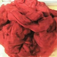 Wool Rovings-Botany Lap Waste-210g Orangy Red-Tops-Felting-Spinning-Crafts-Toys