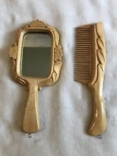 Vintage Hand Held Carved Wood Mirror and Comb