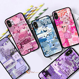 For iPhone 12 11 8 7 MAX XR X XS Aesthetic Collage Phone Case Ladies Cover  F22