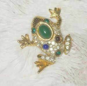 Vintage Jeweled Frog Cabochons & Rhinestones  BROOCH Pin