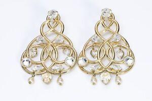 Zoe Coste Paris Gold Tone Crystal Heart Pearl Chandelier Earrings