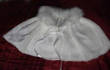 Bridal Fur Cape in Ivory with Satin Ribbon in Soft Plush ivory Pleated Faux Fur