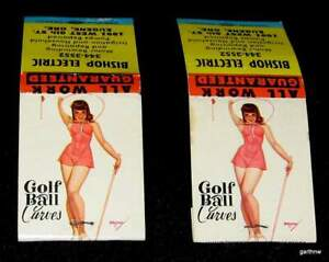 GEORGE PETTY GIRL 1950s GOLF BALL CURVES PIN-UP ART TWO (2) MINT MATCHBOOKS