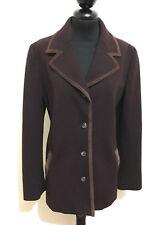 TRUSSARDI Giacca Donna Lana Pelle Woman Wool Leather Jacket Blazer Sz.M - 44