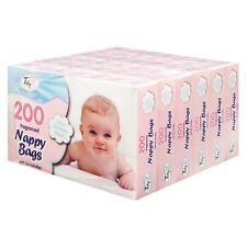 5 BOXES (1000) x BABY SCENTED NAPPY BAGS WITH TIE HANDLES DISPOSABLE SACKS