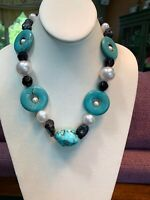 Vintage Turquoise Stone Pearl Bohemian Glass Beaded Bib Statement Necklace 18""