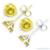 Faux Yellow Topaz Round Cut CZ Crystal Martini Stud Earrings 925 Sterling Silver
